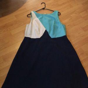 Adriana Papell blue multi dress. Size 14w.